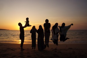 Muslim Family on a Beach