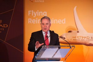 James Hogan, Etihad Airways President and Chief Executive Officer, delivers the keynote address at the monthly Wings Club luncheon held at The Yale Club in New York  (21 April 2016).