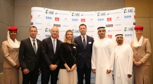 1)From left to right: Chris Newman, Corporate Director of Operations, Emaar Hospitality Group,  Thierry Antinori, Executive Vice President and Chief Commercial Officer, Emirates Airline Nadège Noblet-Segers, Exhibition Manager, Arabian Travel Market, Simon Press, Senior Exhibition Director, Arabian Travel Market and World Travel Market Issam Abdul Rahim Kazim, Chief Executive Officer of Dubai Corporation for Tourism and Commerce Marketing Ali Abu Monassar, Chairman, The Vision Destination Management