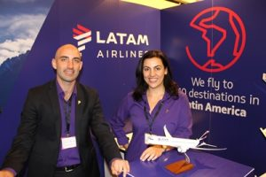 ATALA expo- Nicholas Aquilina and Catherine De Giorgio from LATAM Airlines