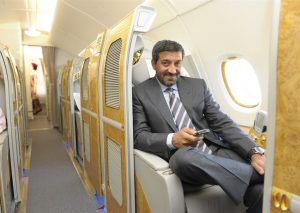 HH Sheikh Ahmed bin Saeed Al Maktoum, Chairman & Chief Executive Emirates Airline and Group, in a First Class suite aboard one of the airline's A380s