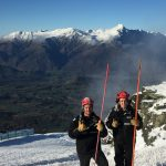 Happy Coronet Peak snow making team members Jake Reilly (L) and Lucy Ruck (R)