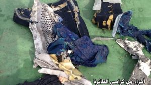 Images posted on the Egyptian Armed Forces official Facebook page show part of the wreckage from MS804.