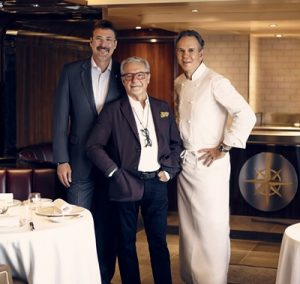 Richard Meadows, Adam Tihany and Chef Thomas Keller in The Grill on Seabourn Quest