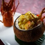 Shang Palace - lobster dishes in 35 ways - Stewed lobster with curry served in a coconut