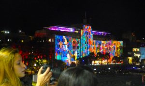 Sydney's Museum of Contemporary Art (MCA) illuminated, taken from FantaSea vessel. Photo by Peter Needham