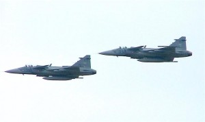Two Hungarian air force Gripen fighter jets