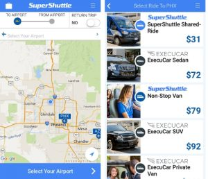 SuperShuttle app is easy to use and earns passengers double airline miles all Summer long. See the SuperShuttle Summer Sale for more information. (PRNewsFoto/SuperShuttle)