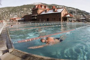 Swimming laps at the hot spring pool in Glenwood Springs