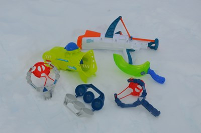 A selection of toys for customers to use on snowshoeing trip