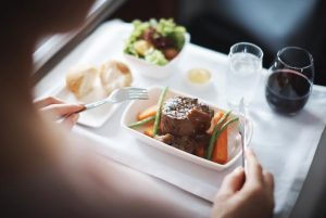 Business class meal on Cathay Pacific