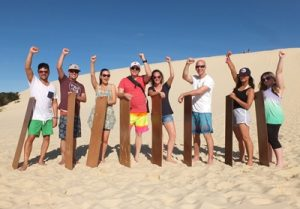 Carnival Cruise Line Sales team on Moreton Island