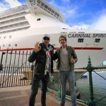 Hamish and Andy boarding Carnival Spirit