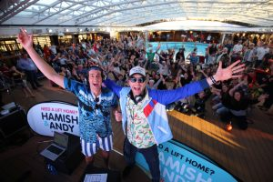 Hamish and Andy broadcasting from Carnival Spirit