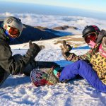 Joe McGuire and Lisa Farrell enjoy the view at Mt Hutt ski area