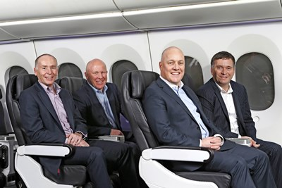 (Left to right) Z CEO Mike Bennetts, Mercury CEO Fraser Whineray, Air New Zealand CEO Christopher Luxon and Foodstuffs North Island CEO Chris Quin
