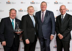 Lord Mayor Peter Doyle celebrates his award for Outstanding Contribution to the Industry with TAA Chair Martin Ferguson, AHA National President Peter Burnett & TAA (Vic) Chair Peter Dawson