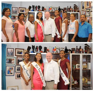 Minister and Ceo meeting Miss Seychelles and the Princesses