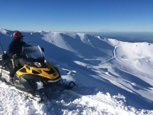 Mt Hutt snowmaker Chris Gardner scopes out the snow base