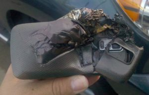 Not the phone on the Qantas flight but an earlier one which allegedly exploded when caught in a car seat in 2010. (Image Source, gizmodo)