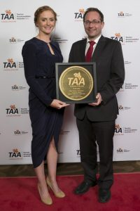 Pullman Melbourne on the Park's Annabelle Gibney was awarded Hotel Industry Rising Star by Daniel Mulino MP