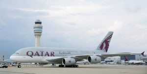 Qatar Airways A380 inaugural return QR756 taxis to pick up Atlanta passengers bound for Doha and 41 countries beyond