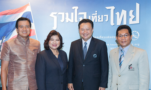 From left: Mr. Charoen Wangananont, President of the Association of Thai Travel Agents; Mrs. Supawan Tanomkiatipume, President of the Thai Hotels Association; Mr. Yuthasak Supasorn, Governor of the Tourism Authority of Thailand, and Mr. Ittirit Kinglake, President of the Tourism Council of Thailand