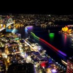 Vivid Sydney 2015, Sydney Harbour photographed from the roof of Grosvenor Place. 25/5/2015. Photo Credit - James Horan/Destination NSW