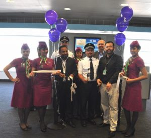 Volaris Airlines flight crew and CDA staff celebrate the airline's new route from Chicago to Monterrey, Mexico.