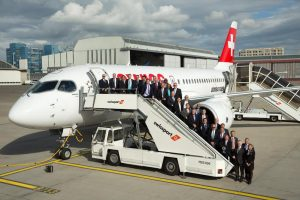 The Chief Executives of the Star Alliance member airlines arrive in Zurich for their summer meeting. They flew in on Bombardier's new CS100 aircraft, due to start normal operations in July.