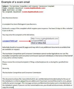 Example of a scam email claiming to be from the ACCC