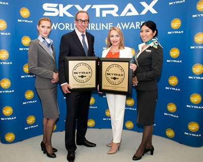 Air Astana with their awards at the Skytrax Awards Ceremony at the Farnborough International Airshow