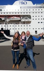 Bessie and Geoff Barker with daughter BlueBelle ready to embark PO's Pacific Pearl