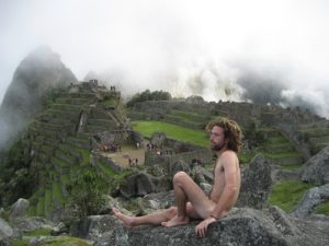 Machu Picchu. The man in the foreground is not the tourist who fell, but an Israeli tourist who goes around posing naked at ancient monuments