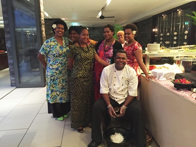 The Team at Sanasana Restaurant in Fiji 'Bula' Style