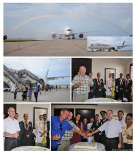 WELCOMING ETHOPIAN AIRLINE FIRST AIRBUS A350 IN SEYCHELLES