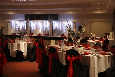 function room set up for wedding