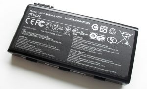 A lithium ion battery from a laptop computer