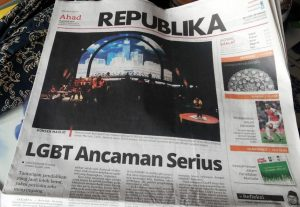 "Conservative newspaper Republika makes its headline with the title ""LGBT a Serious Threat"" (Photo Human Rights Watch)"