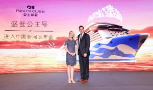Jan Swartz and Stuart Allison at the launch of Majestic Princess features in Shanghai August 24 2016