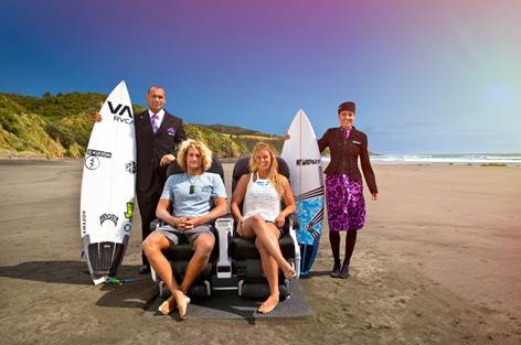 Kiwi surfers Ricardo Christie and Paige Hareb with Air New Zealand Flight Attendants in Surfing Safari