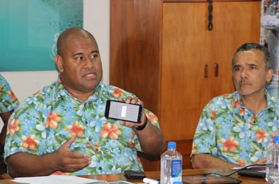 Rosie Holidays General Manager Eroni Puamau, left, and Managing Director, Toni Whitton at the launch of the Feejee Traveller App in Nadi. PHOTO Kelvin Anthony