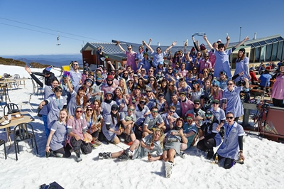 The Mt Buller Community supporting One Girl's 'Shred In A Dress' charity...