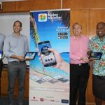 Tourism Fiji CEO, Matthew Stoeckel with partners at the launch of the Feejee Traveller App in Nadi. PHOTO Kelvin Anthony
