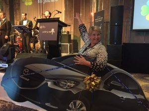 Personal travel manager Erryn Morris looking good in her pretend car