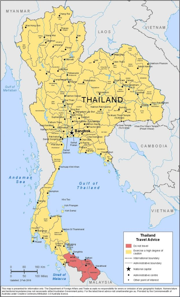 DFAT's map shows in red the areas of southern Thailand it advises travellers to avoid
