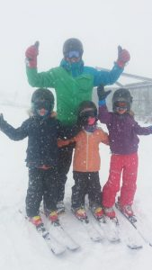 Lumsden family having fun on a snowy day at The Remarkables