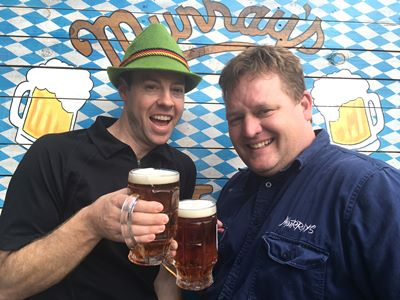 Murray's Oktoberfest 2016 - Murray's Brewers Sean Costigan left and Alex Tucker right researching some of their Oktoberfestbier