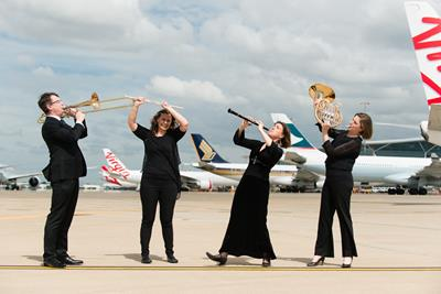 QSO members Dale Truscott Lauren Manuel Sarah Meagher & Hayley Radke at Brisbane Airport B