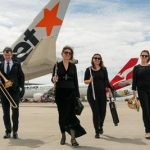 QSO members Dale Truscott Sarah Meagher Hayley Radke & Lauren Manuel at Brisbane Airport A